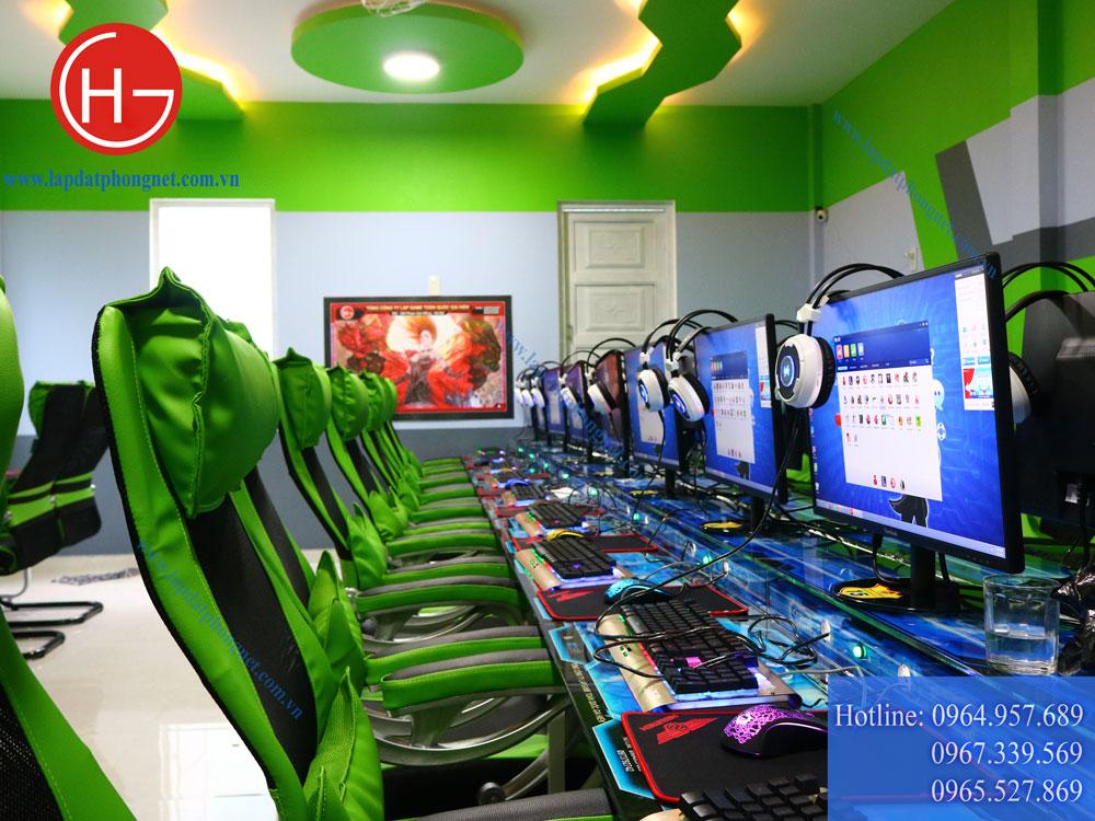 Mẫu phòng game net tông màu xanh sang trọng, đẳng cấp - 09